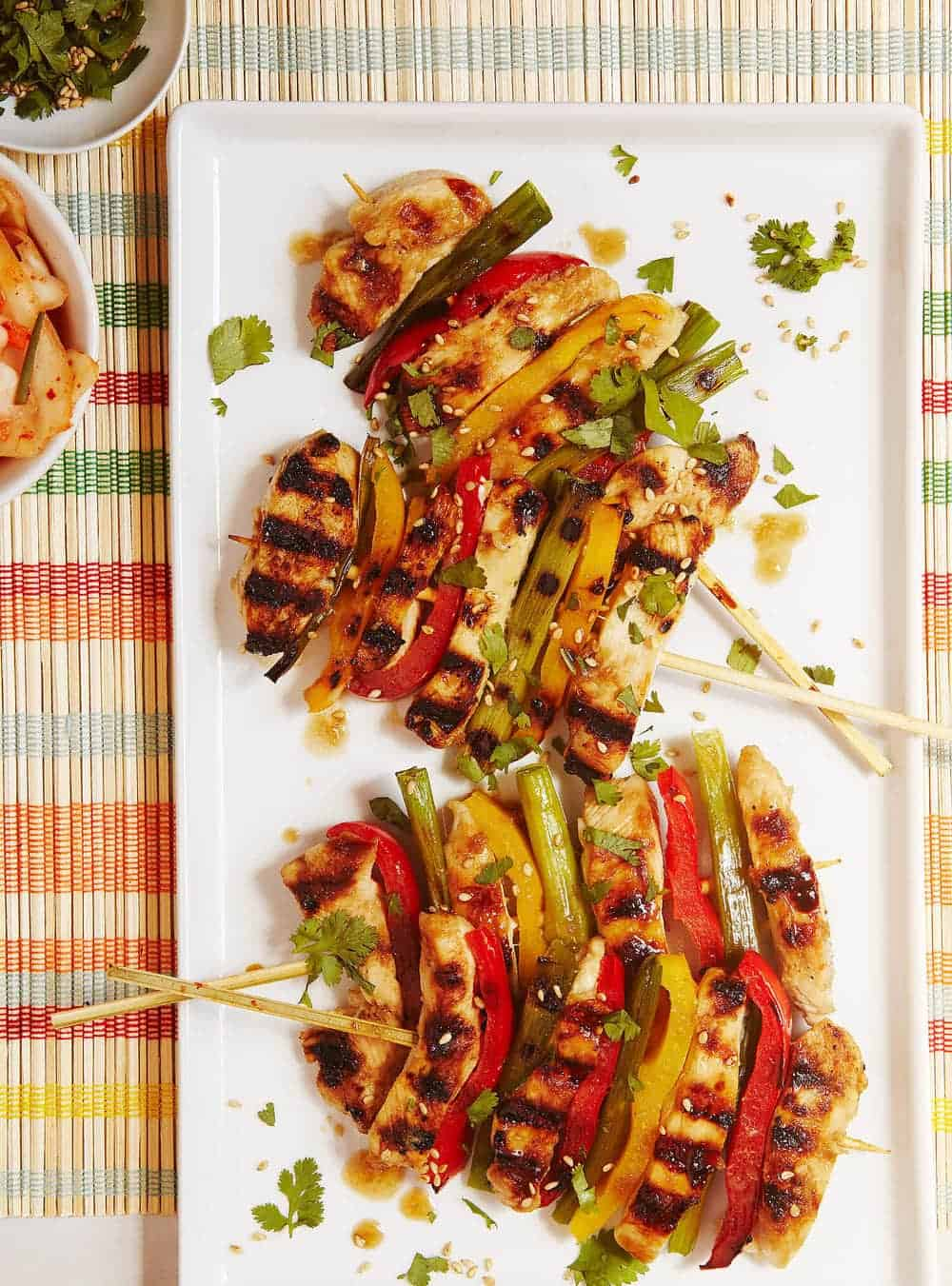 Korean Grilled Chicken and Veggie Skewers – your new family favorite dinner! Tips for making successful skewers that cook uniformly, too!