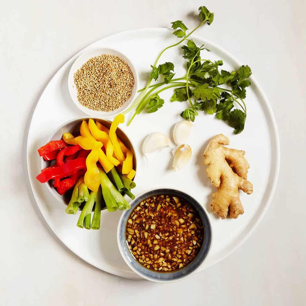 Korean Grilled Chicken and Veggie Skewers – gathering all the ingredients!