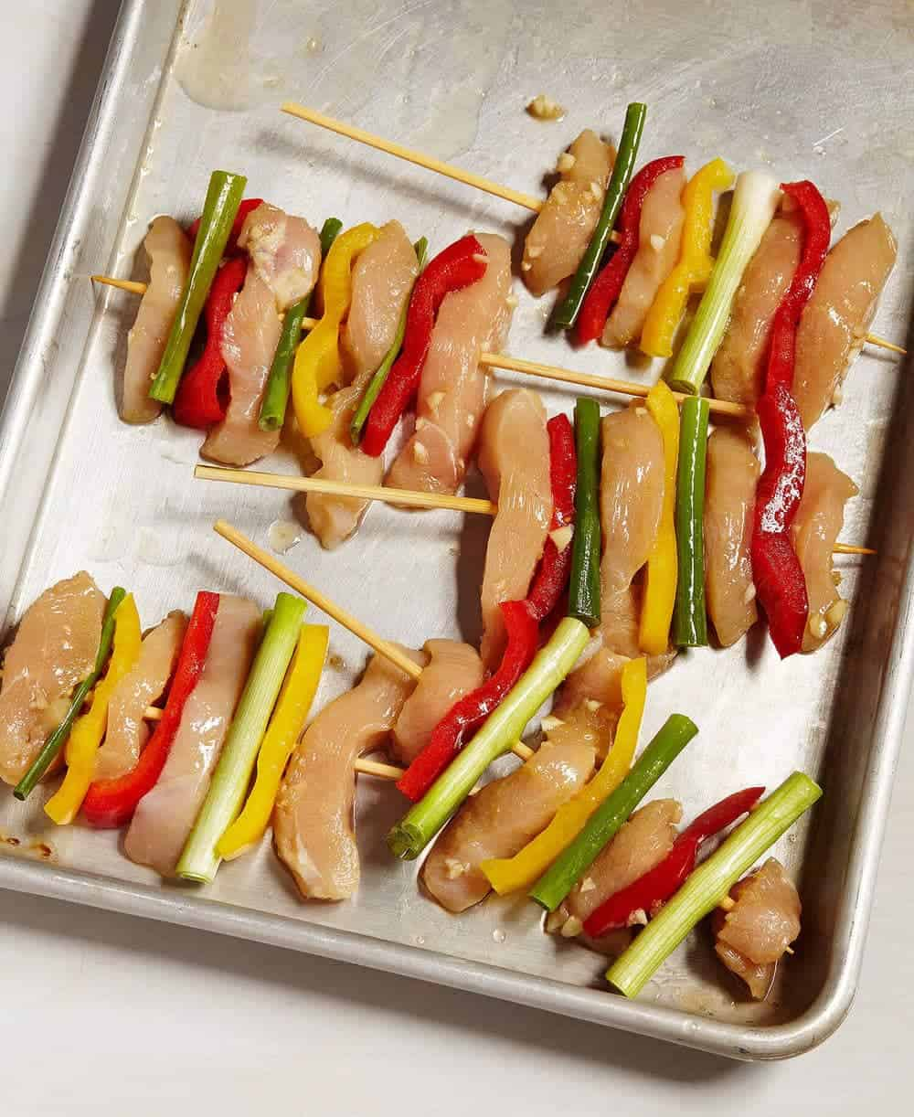 Getting the Korean Grilled Chicken and Veggie Skewers prepped - this is so easy!
