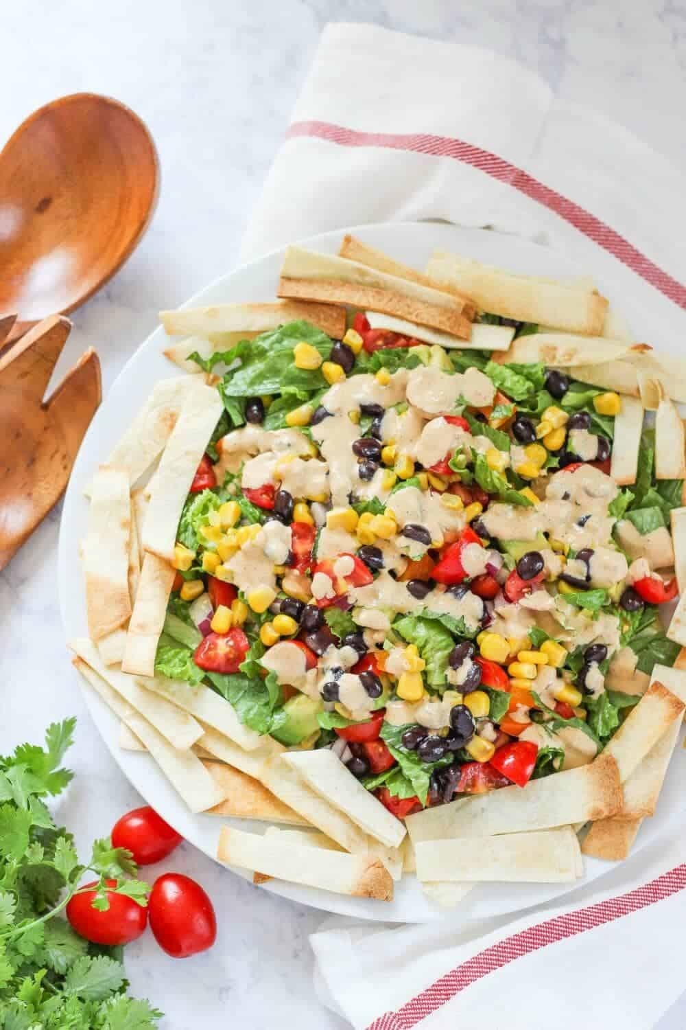 mexican salad with chipotle dressing and homemade tortilla strips