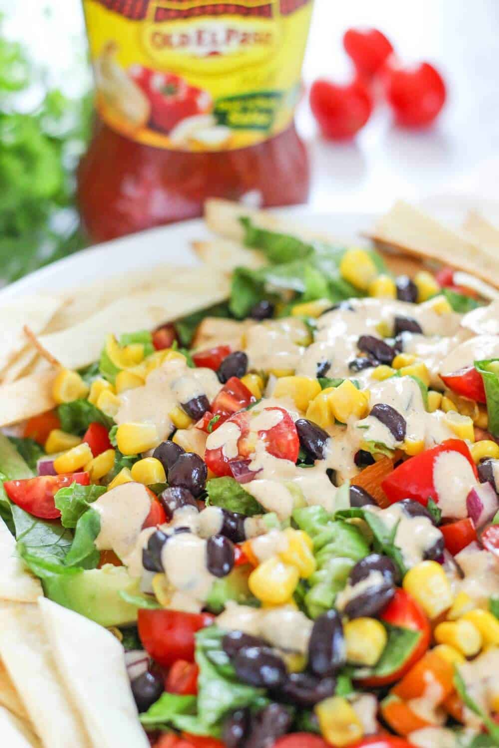 Mexican Chopped Salad with Chipotle Dressing.. . perfectly balanced with just the right about of spice for this delicious meal!