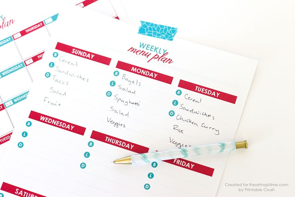 free printable menu plans i heart nap time