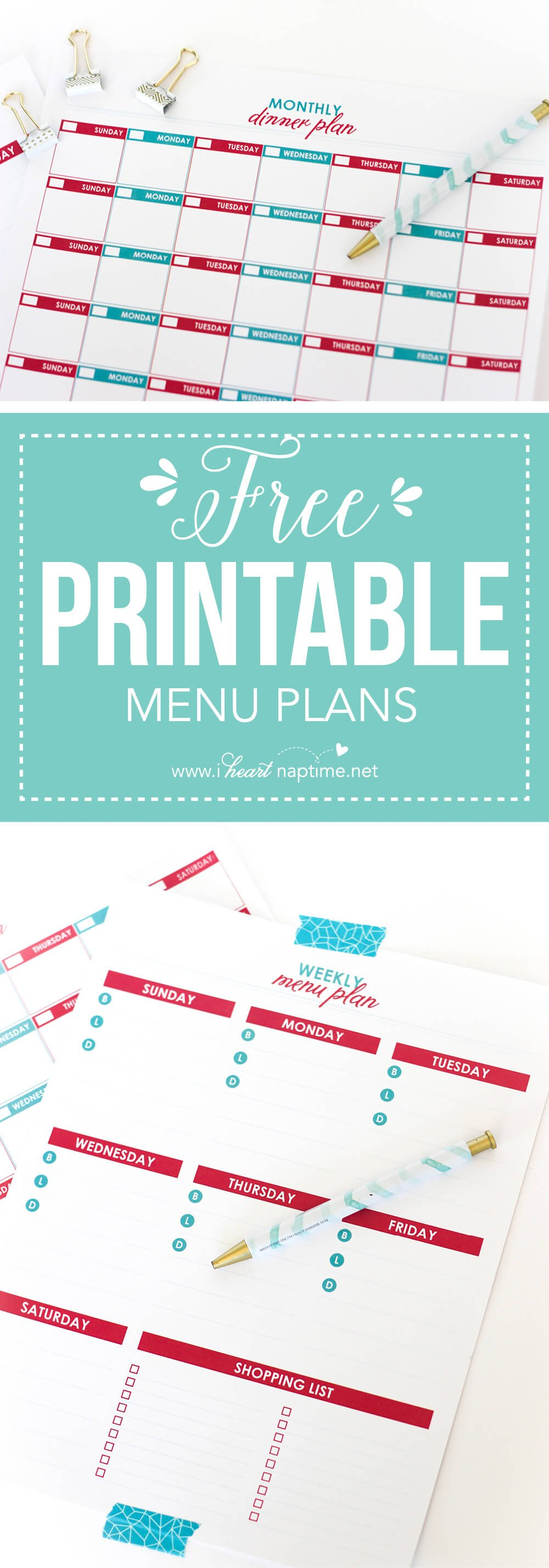 Organize your meal planning schedule with these Printable Menu Plans! You can schedule by month or by week with these pretty sheets!