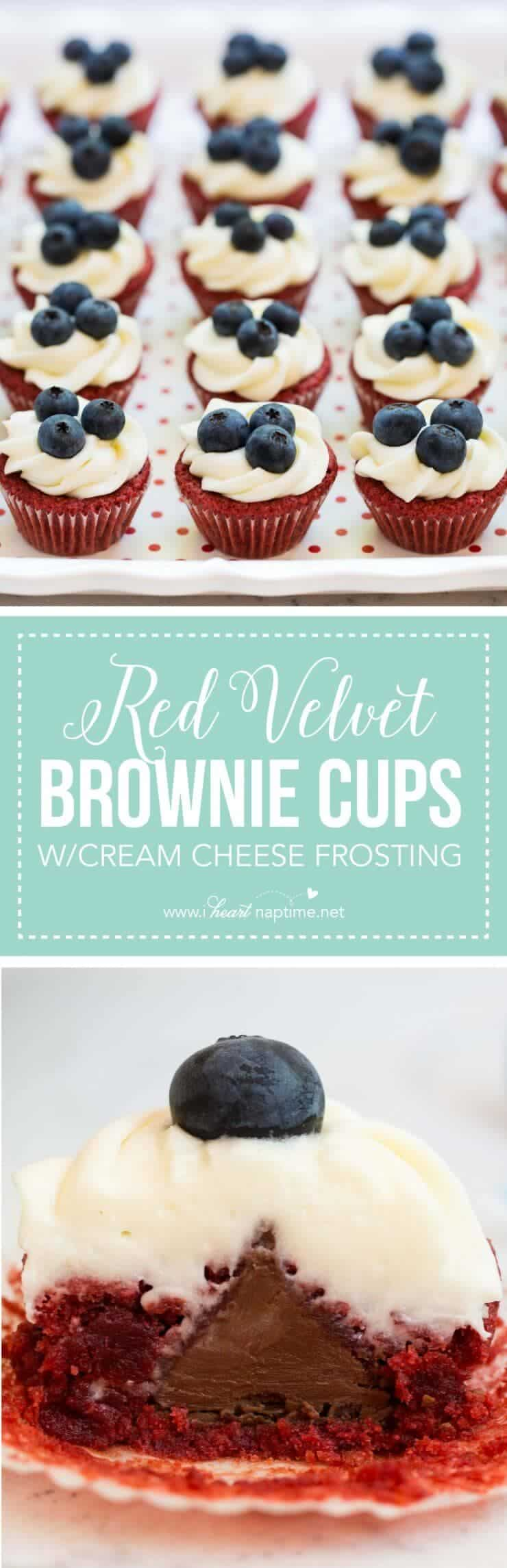Red Velvet Brownie Cups Recipe with Cream Cheese Frosting -YUM!!