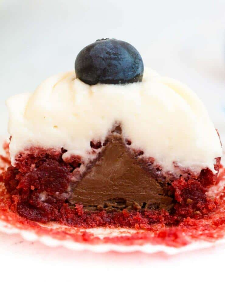 Red Velvet Brownie Cups with Cream Cheese Frosting - inside is a hidden Hershey's Kiss!