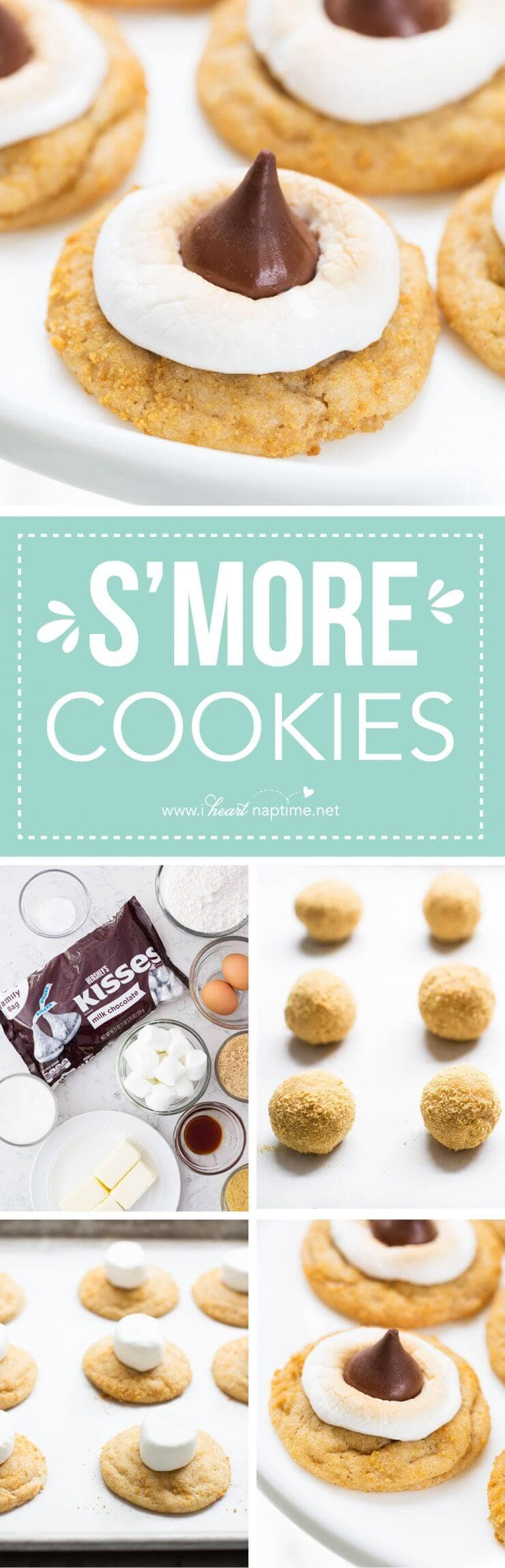 S'mores Cookies... a delicious summery treat with a buttery graham cracker dough, a gooey marshmallows, and a HERSHEY'S KISS chocolate on top! It is irresistible!
