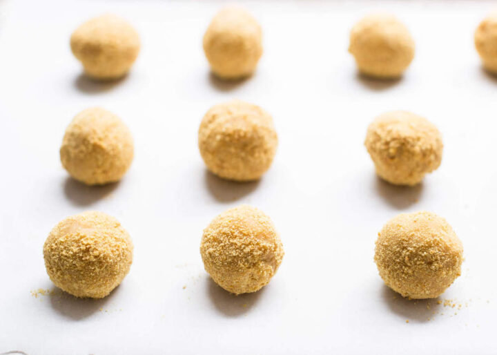 s'mores cookie dough balls rolled in graham cracker crumbs