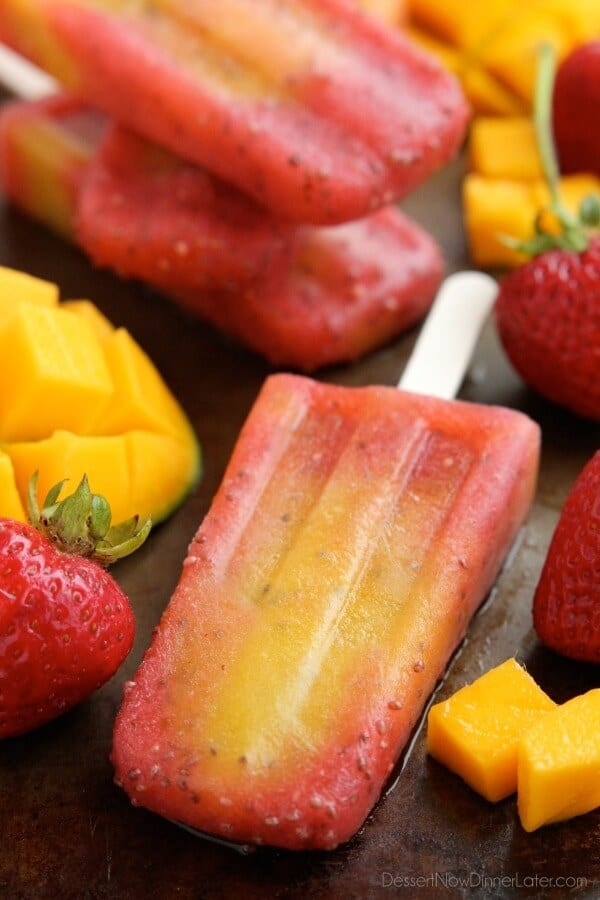 Strawberry Mango Chia Popsicles on the Top 50 Homemade Ice Cream and Popsicle Recipes