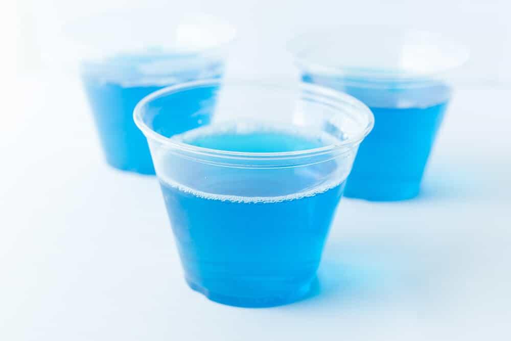 Teddy Bear Jello Pool... preparing the Jello cups