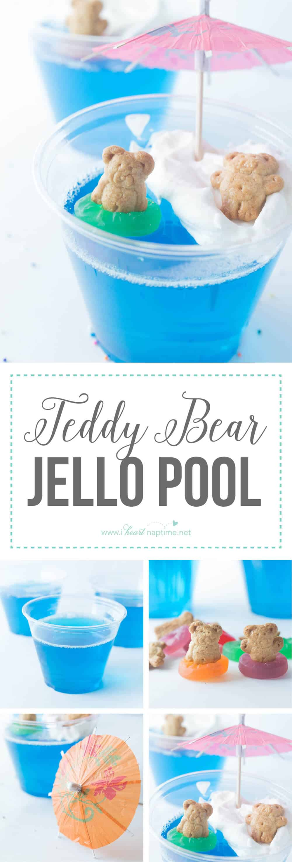 Teddy Bear Jello Pool... these little guys make a great summer treat! Refreshing Jello and a dollop of whipped cream make for a yummy treat everyone will love!