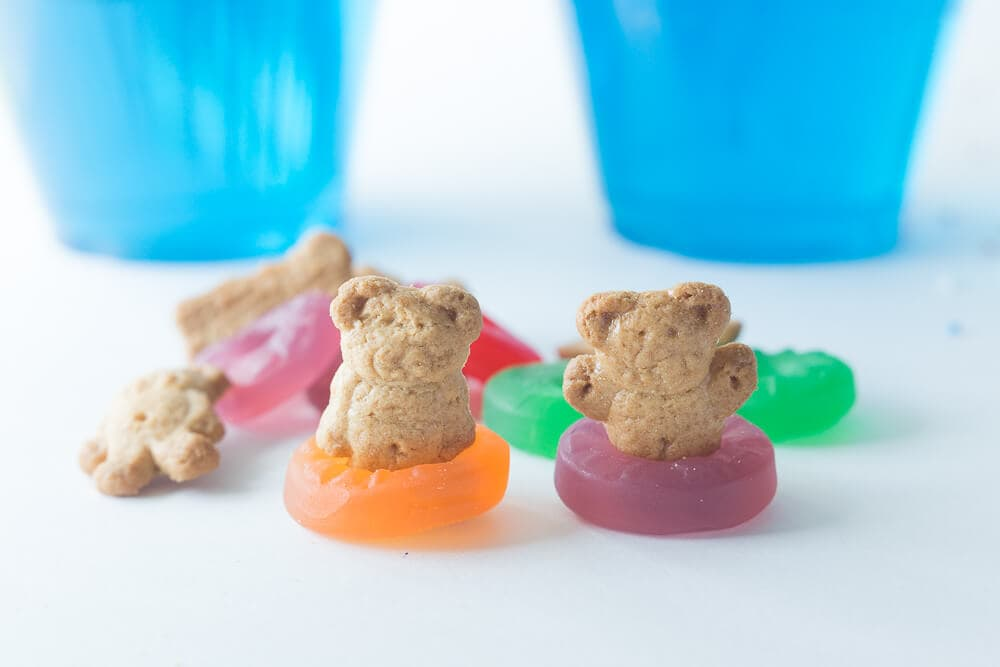 "Teddy Bear Jello Pool.... putting the Teddy Grahams in Lifesaver ""floaties"""