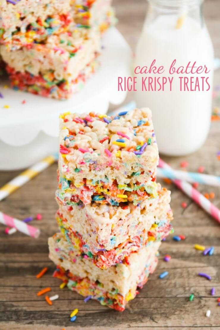 Top 50 Back to School Lunches and Snacks... Cake Batter Rice Krispy Treats