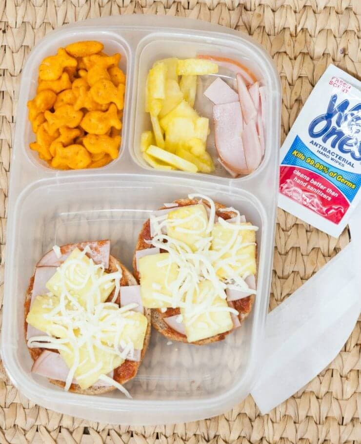 Top 50 Back to School Lunches and Snacks... Hawaiian Pizza Bagel Lunch-able
