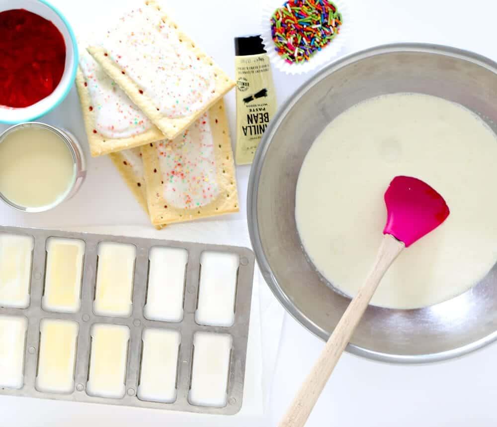 No Churn Strawberry Pop Tart Ice Cream... gathering all the ingredients