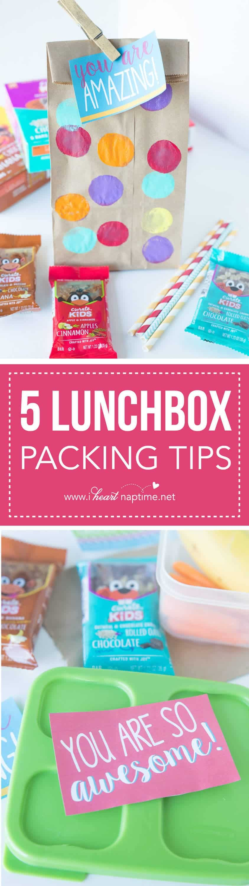 Five Lunchbox Packing Tips... get ready for back-to-school with these great tips to help organize lunch packing and make them fun! These simple tips will help make lunchbox packing less stressful for the parents, too!