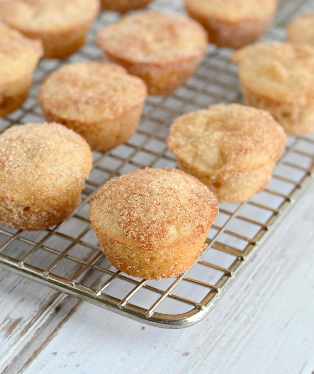 Apple Snickerdoodle Mini Muffins - perfect for snacking or breakfast!