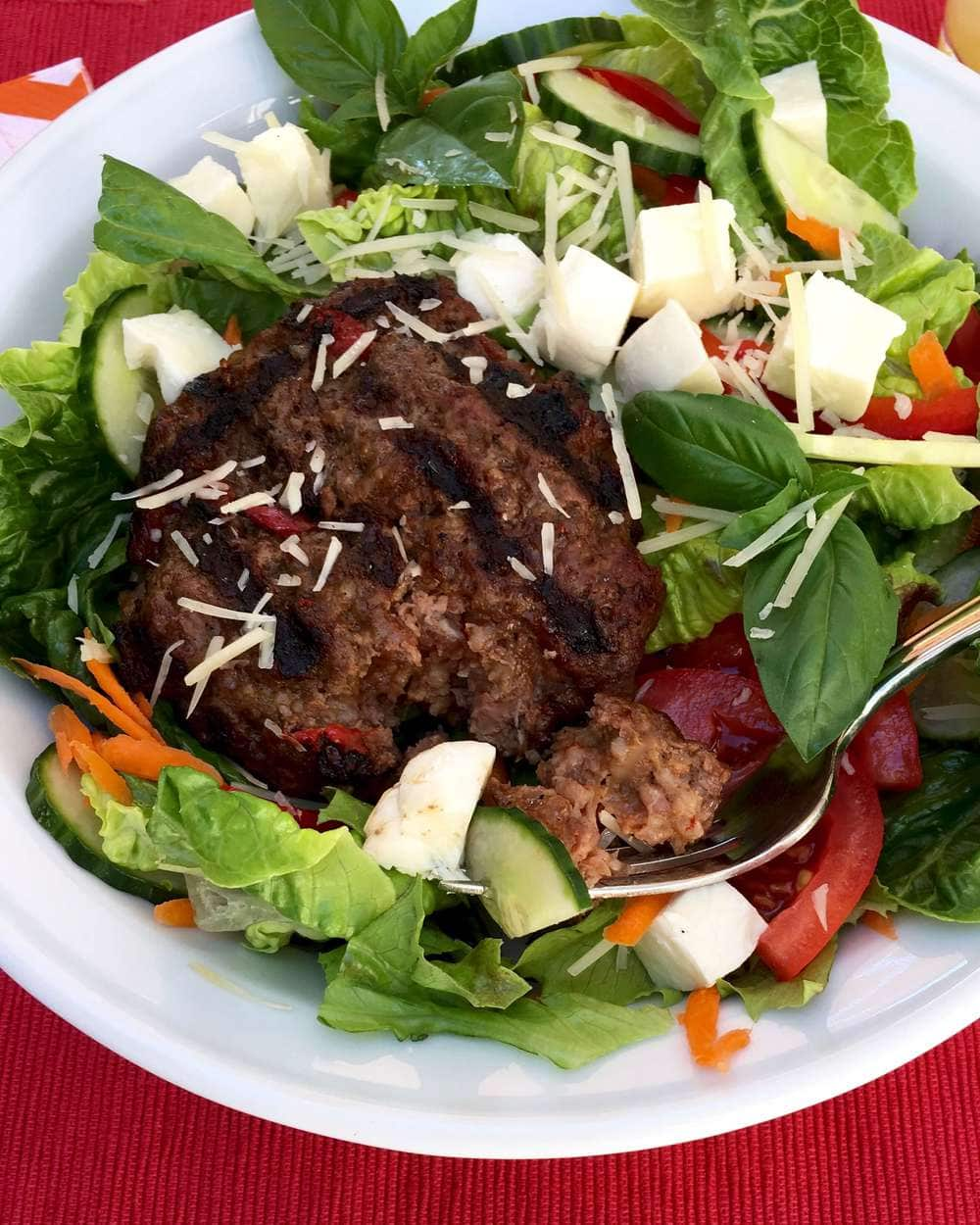 Italian Bunless Burgers... makes a delicious salad, too!