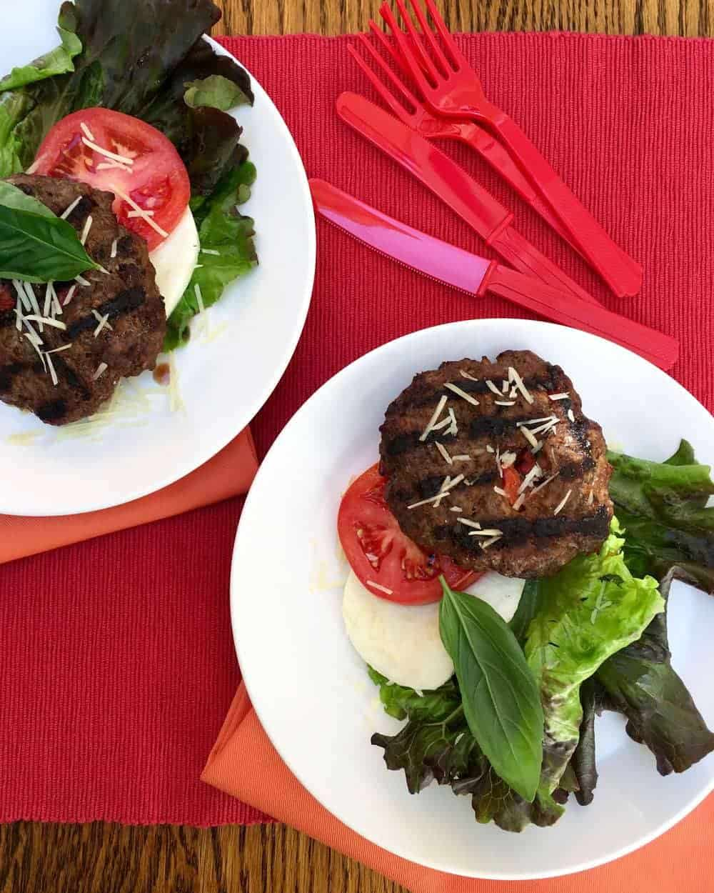 Italian Bunless Burgers... perfectly seasoned and grilled, these make a great lettuce-wrapped dinner!
