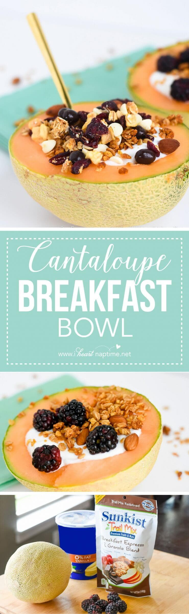 Cantaloupe Breakfast Bowl... an all-in-one, easy way to prepare a healthy and amazingly delicious breakfast! Definitely a new favorite!