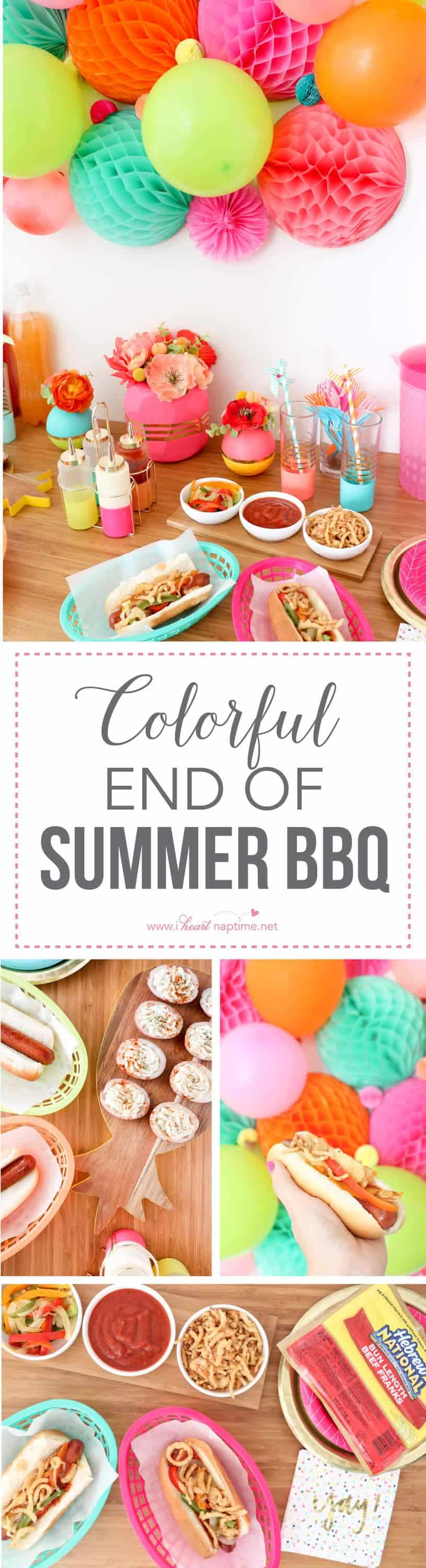 Colorful End of Summer BBQ... throw one last party complete with peperonata hot dogs and individual potato salad bites.