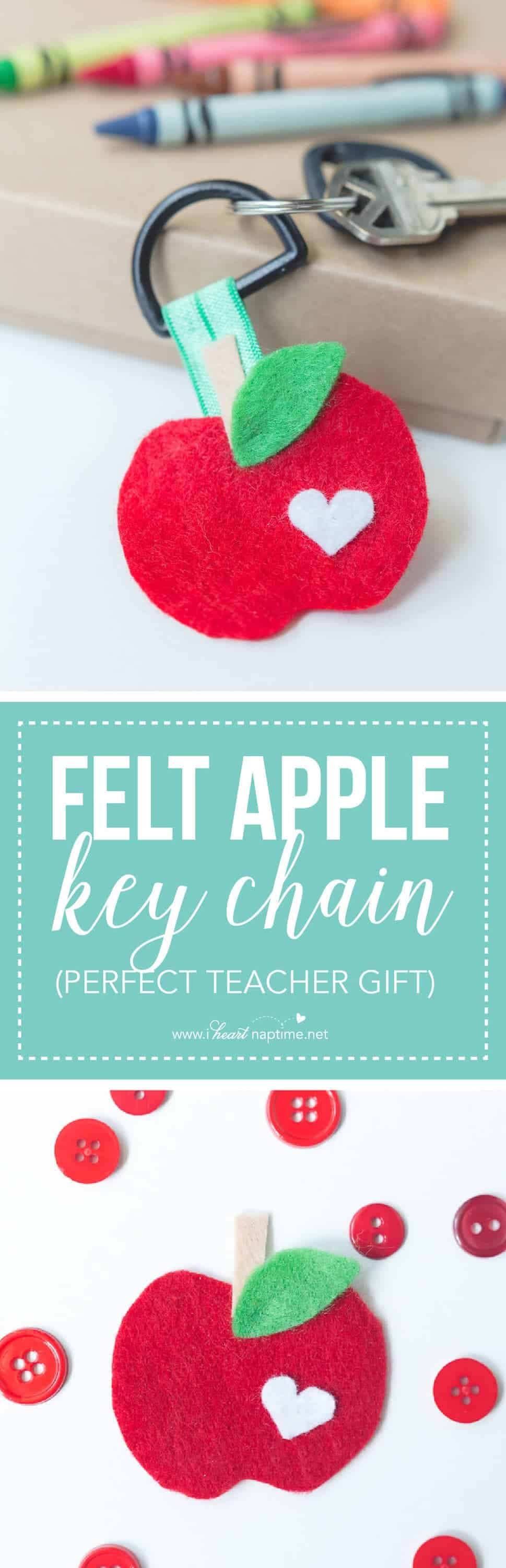 Felt Apple Keychain... create this easy and cute back to school gift idea for your children's teachers. You only need a few simple supplies and even your kids can help!
