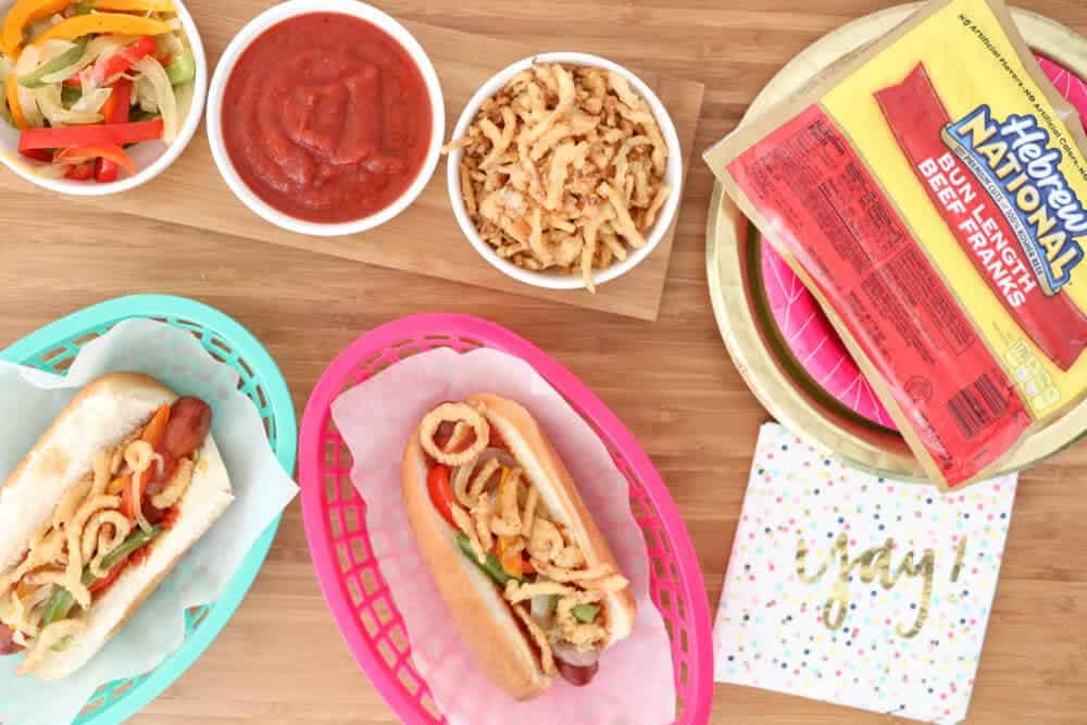 Colorful End of Summer BBQ with fun, delicious toppings!