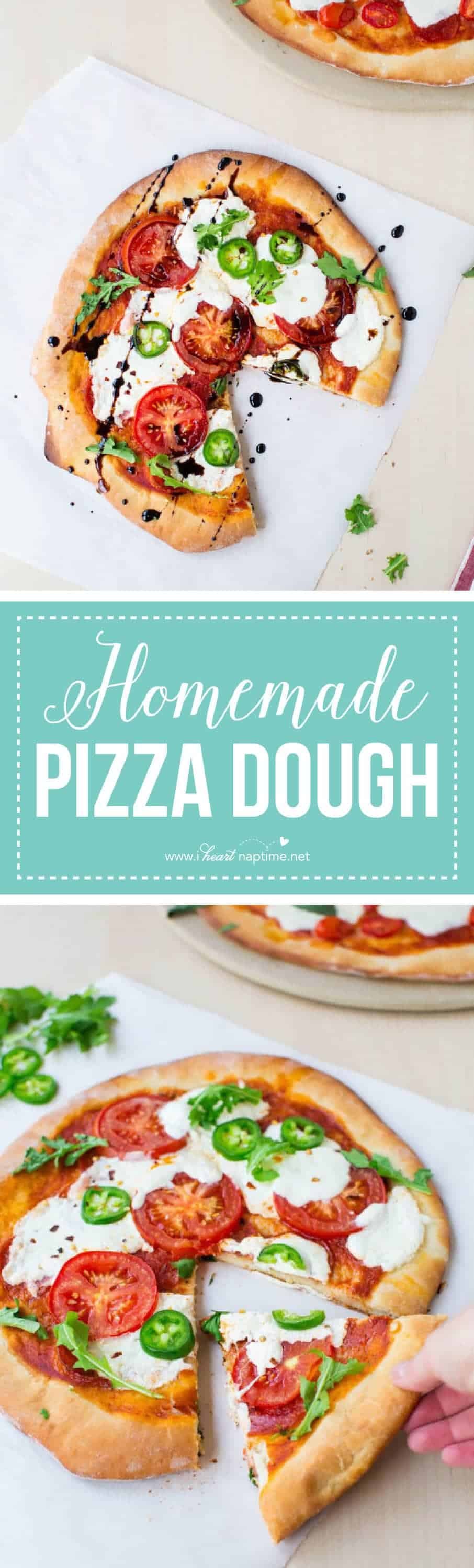I'm excited to share my favorite Homemade Pizza Dough recipe with you today! I shared this recipe in the I Heart Naptime Cookbook and get to give you a little sneak peak of the book today as well. Yay!