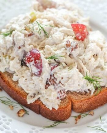 Slow Cooker Chicken Salad is so delicious and easy to make! Perfect for lunches all week!