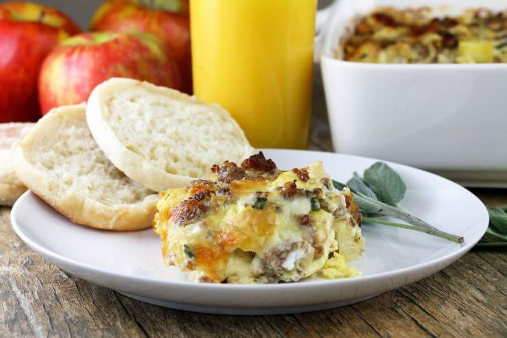 Maple Sausage, Apple, and Sage Strata featured on the Top 50 Apple Recipes