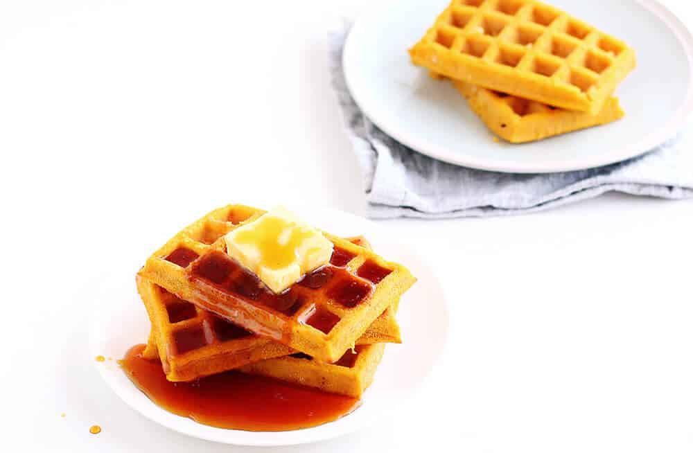 Pumpkin Waffles... a delicious and healthy breakfast made without a waffle iron!