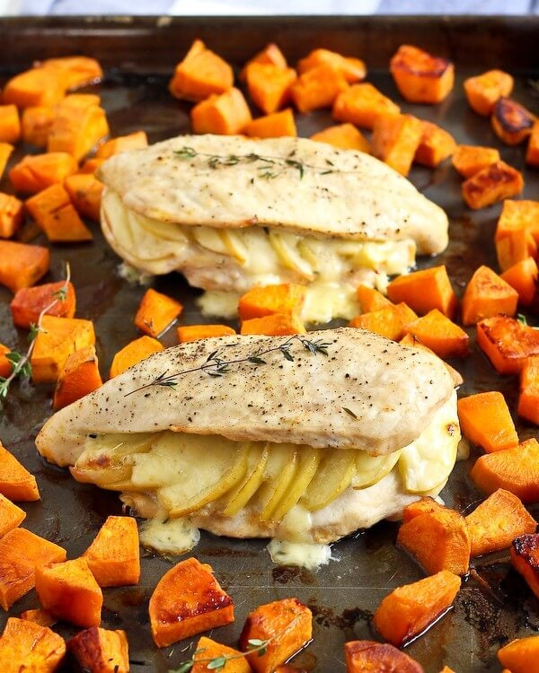Apple Gouda Stuffed Chicken Breasts featured on the Top 50 Apple Recipes