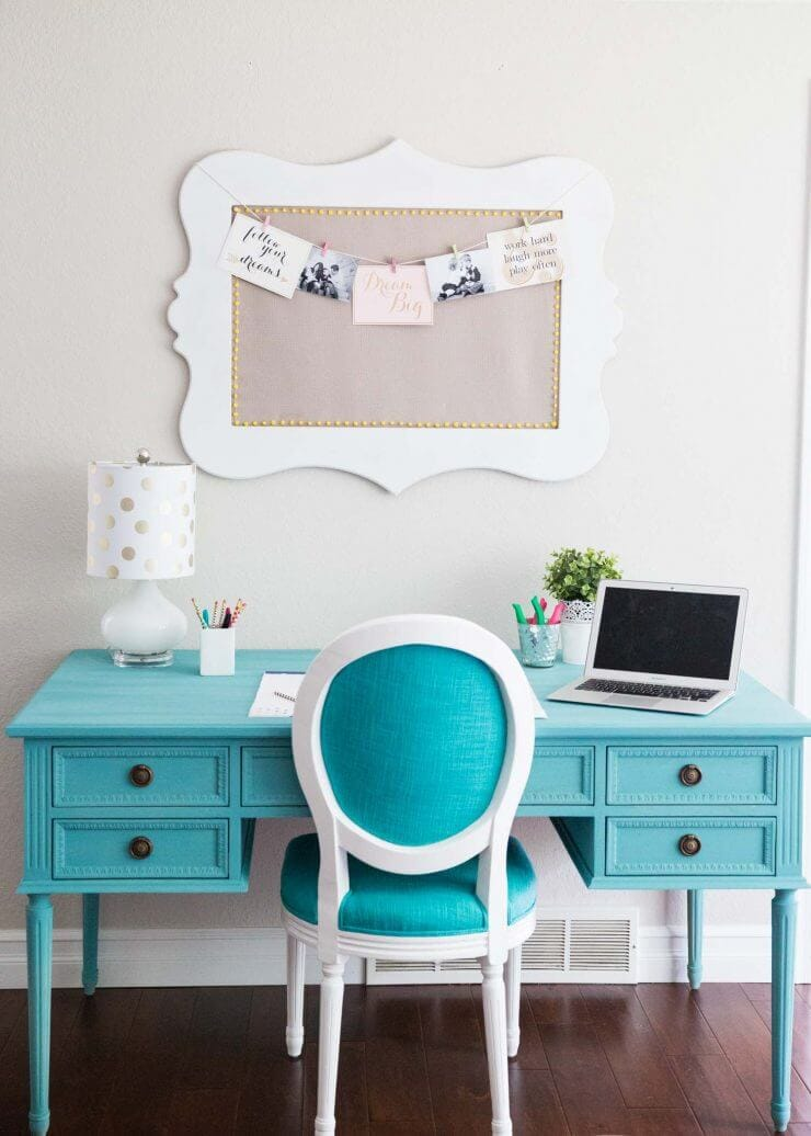 Blue Chalk Paint Desk... a beautiful and easy DIY, adding the perfect pop of color to my home! This instantly became the favorite homework station!