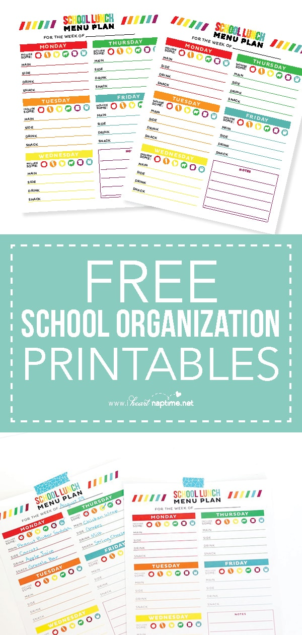 free school organization printables