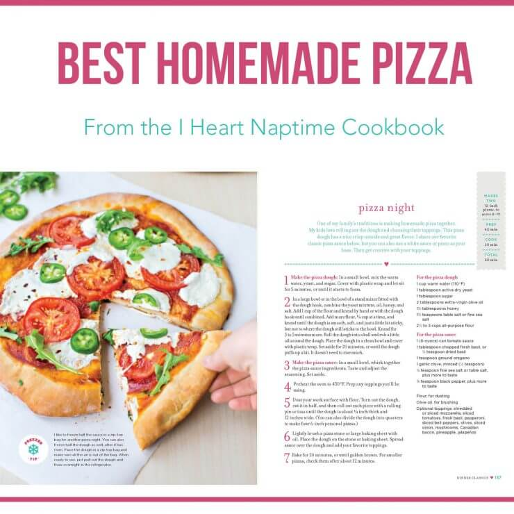 BEST homemade pizza recipe from the I Heart Naptime Cookbook