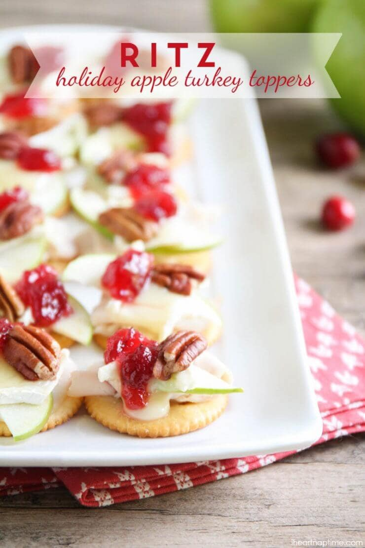 Ritz Holiday Apple Turkey Toppers featured on the Top 50 Apple Recipes