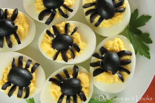 Top 50 Halloween Recipes... Spooky Spider Deviled Eggs