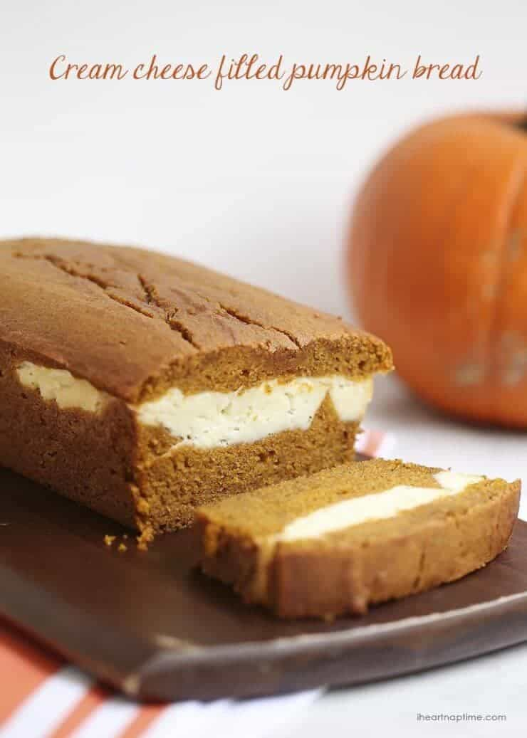 Top 50 Halloween Recipes... Cream cheese filled pumpkin bread