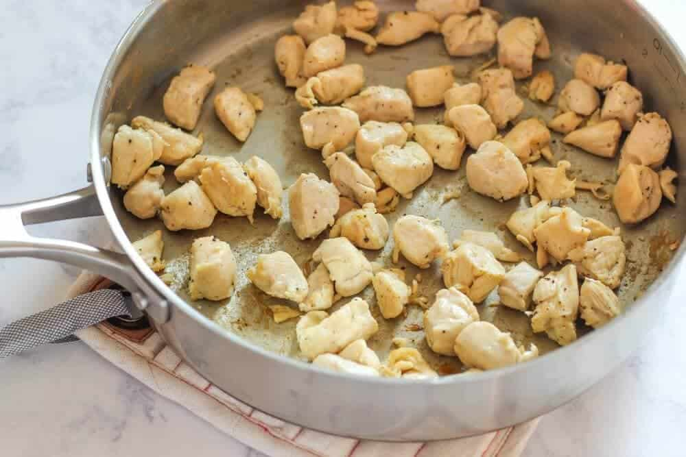 One Pan Chicken with Apples... cooking the chicken