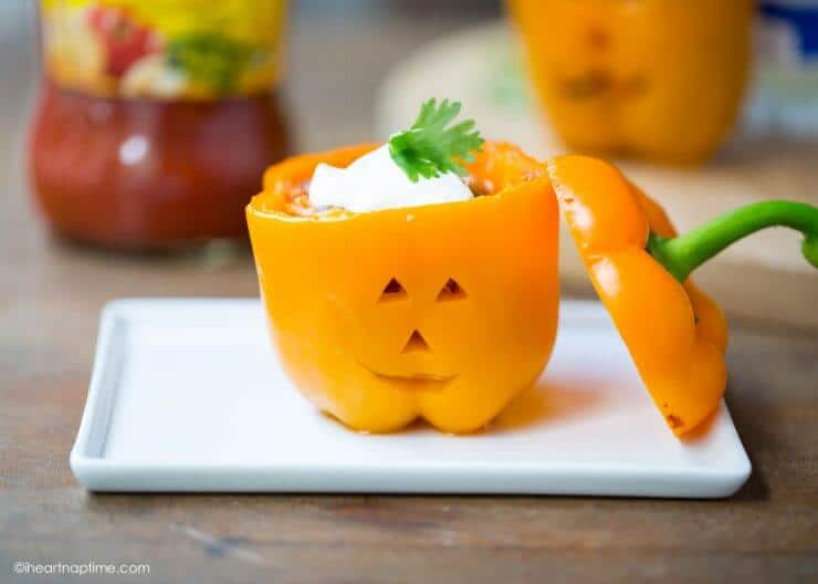 Top 50 Halloween Recipes... Chicken stuffed peppers