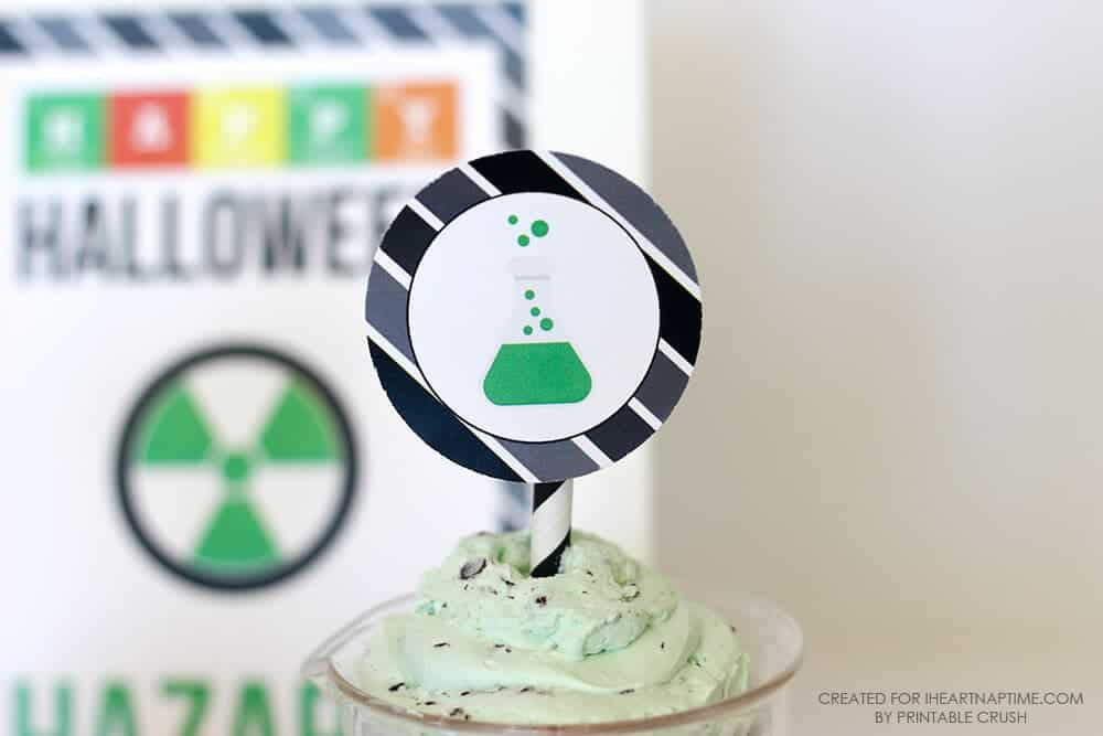 Mad Scientist Halloween Party Printables -- cupcakes!