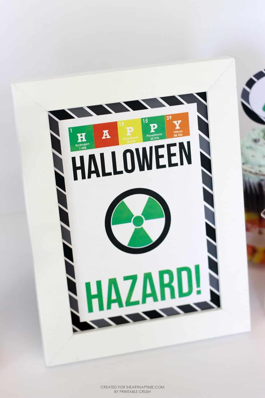 Mad Scientist Halloween Party Printables -- hazard sign!
