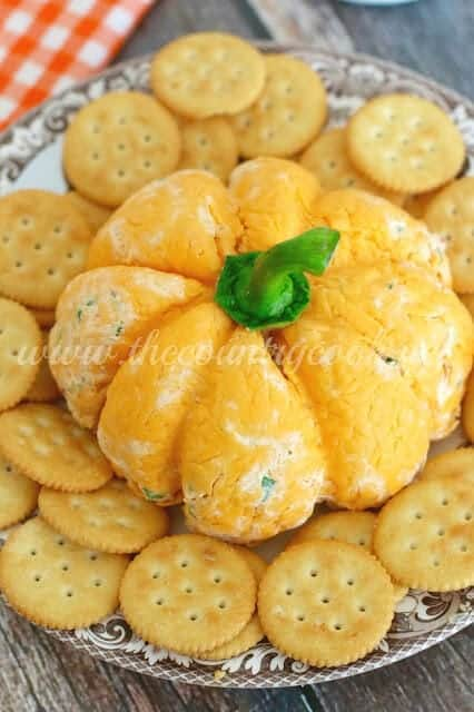 Top 50 Halloween Recipes... Pumpkin shaped cheese ball