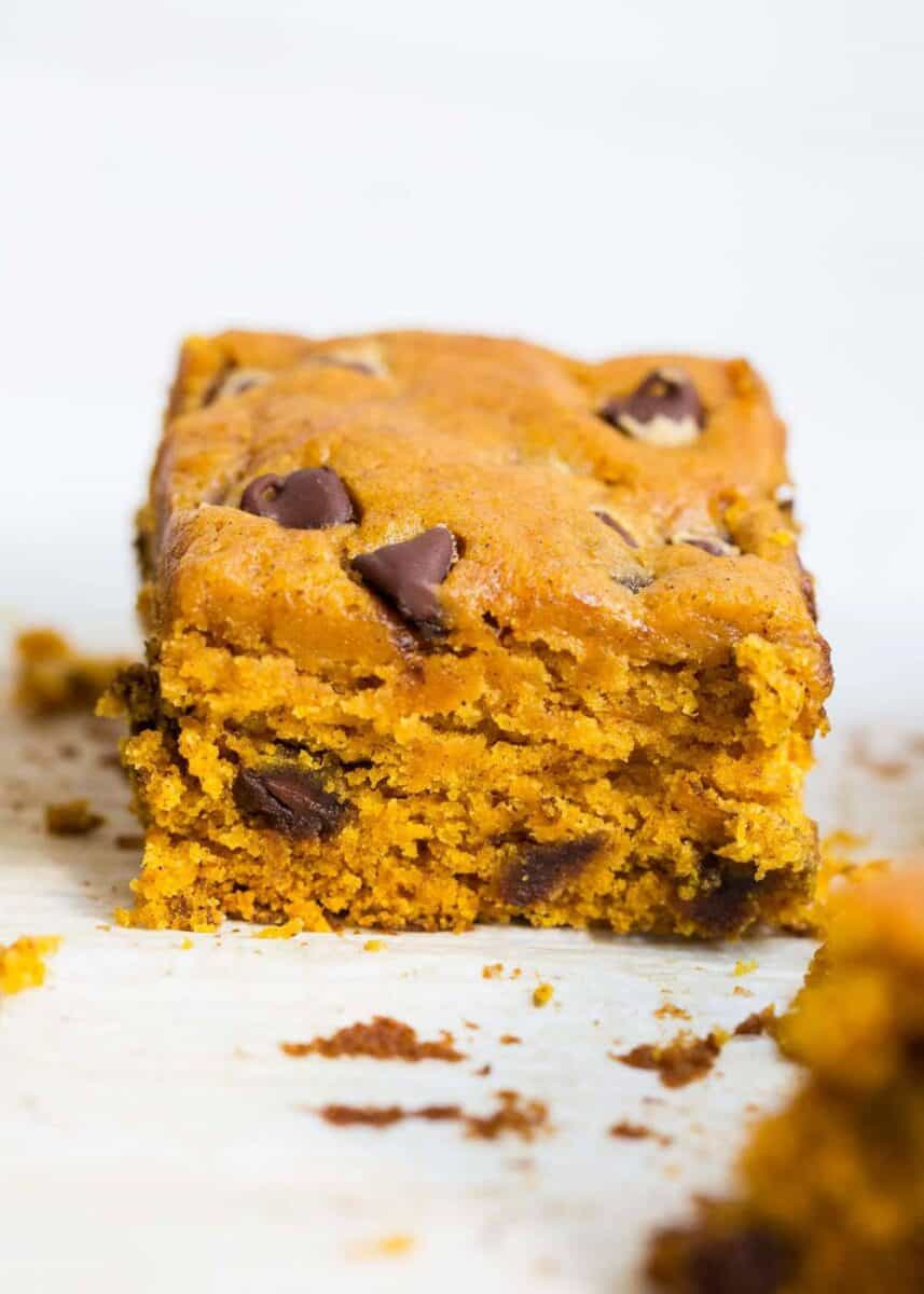 stack of pumpkin chocolate chip bars
