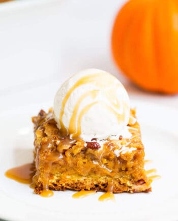This pumpkin cake is perfect for pumpkin lovers everywhere. It has a brown sugar crumb cake bottom and top with a delicious pumpkin filling. It's very similar to a pumpkin dump cake but has a crumb cake layer on the bottom as well which adds an extra layer of deliciousness.