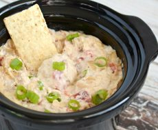 This Spicy Cheesy Bacon Dip cooks up in a slow cooker. It will be a hit at your next party or gathering!