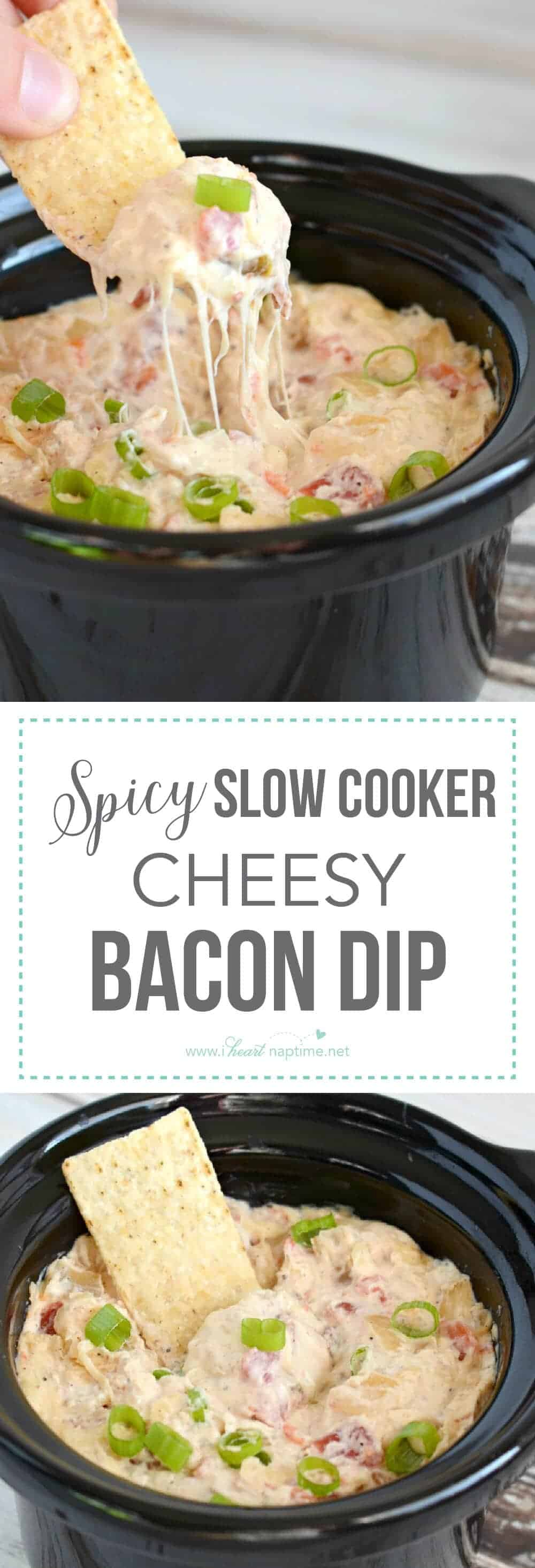 This Slow Cooker Cheesy Bacon Dip has just a bit of a kick, and it is a simply delicious appetizer. A sure fire crowd-pleaser!