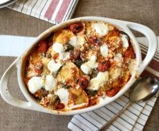 Baked Ravioli and Spinach with Charred Tomatoes... a one-pan meal full that the whole family will love!