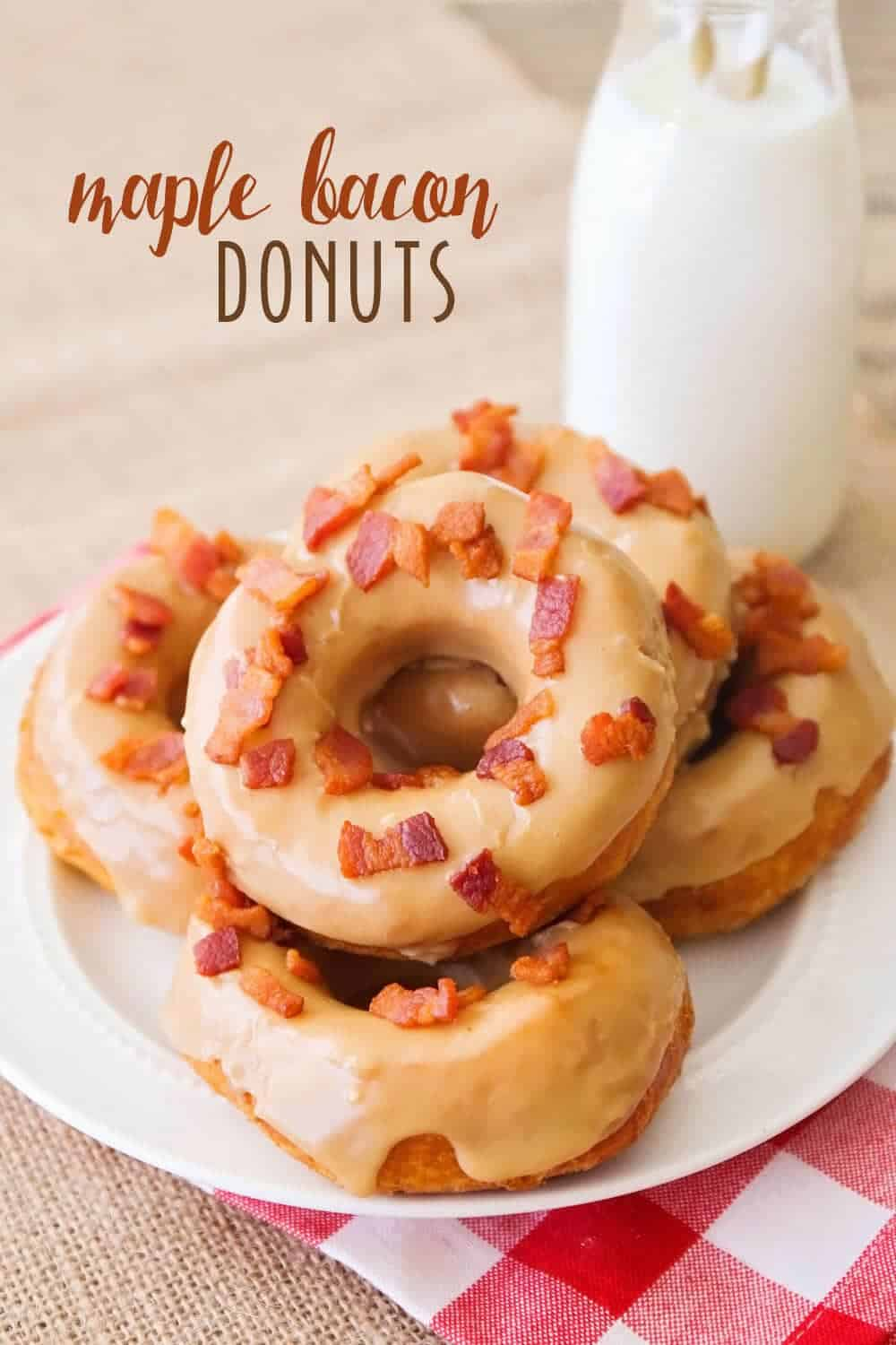 stack of maple and bacon donuts on a white plate