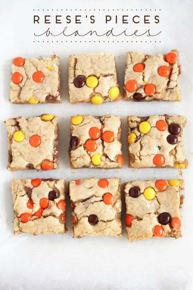 Top 50 Halloween Recipes... Reeses pieces blondies