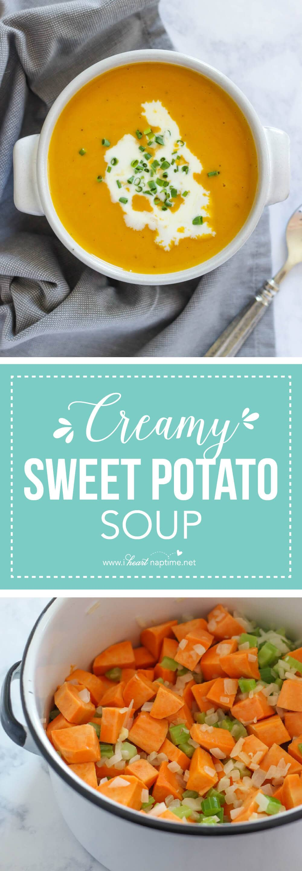 Creamy Sweet Potato Soup... a hearty and easy main dish soup recipe perfect for cold weather. This is a delicious vegetarian recipe everyone will love.